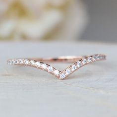 Perfect for stacking! Rose gold plated brass ring with CZ Style #TFHR1007