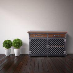 Lattice Door Ellis Console – Model #E48   Vintage Industrial Furniture