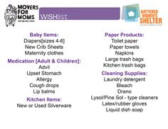 Last week to donate items for Movers For Moms®! Bring any of these items to our location on 1511 East Market St.Akron