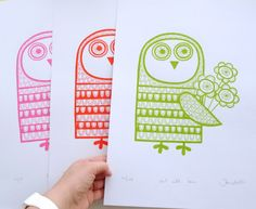 A3 Size Owl Screen Print by Jane Foster ' Owl with by Janefoster, $33.00