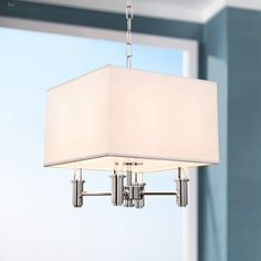 "DuPont 14"" Wide Chrome Convertible Square Pendant Light #pendants #pendantlights #pendantlighting #lighting #lightingdesign #lightingideas Entryway Lighting, Dining Lighting, Living Room Lighting, Candle Chandelier, Chandelier Lighting, Chandeliers, Black Pendant Light, Multi Light Pendant, Semi Flush Ceiling Lights"