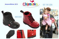 Harper Beckham is one cool kid! To get her look for your child check out our trendy little ankle boots in black leather and red patent leather!  www.chipmunksfootwear.co.uk