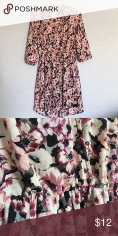 Xhiliration Floral Wrap Dress Floral wrap dress from Xhiliration with a tapered waist and puffy 3/4 sleeves. Great condition! *Feel free to make an offer!* Xhilaration Dresses Mini