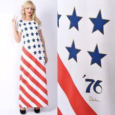 Vtg 70s Red White Blue Americana Dress Flag Stars Stripes Independence 1776 S M