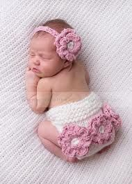 Baby Crochet Nappy Cover Headband Set -Newborn Girl Outfit Infant Photo Prop NEW