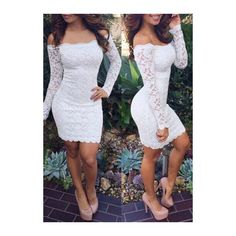 Rotita White Off the Shoulder Lace Bodycon Dress featuring polyvore, fashion, clothing, dresses, white, long-sleeve mini dress, sexy lace dresses, white sheath dress, long sleeve bodycon dress and white dress