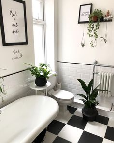 Black and white Victorian style bathroom floor tiles with roll top bath. Black and white Victorian s Black And White Bathroom Floor, Black Tile Bathrooms, Bathroom Red, Bathroom Tile Designs, Boho Bathroom, Bathroom Floor Tiles, Bathroom Design Small, Bathroom Interior Design, Bathroom Styling