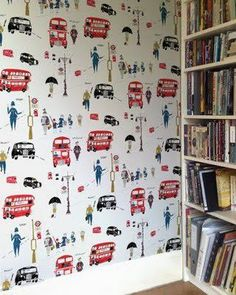English wall paper. love for boys' hallway