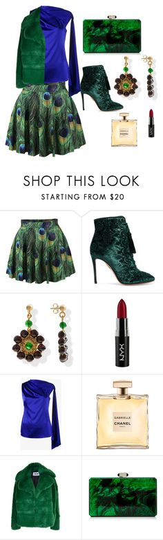 """""""Peacock Feather mini with Scarf Top"""" by mkdetail ❤ liked on Polyvore featuring WithChic, Aquazzura, NYX, Osman, MSGM and Judith Leiber"""