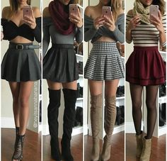 Outfit Trends Today For You ! Cute Skirt Outfits, Cute Skirts, Girly Outfits, Cute Casual Outfits, Dress Outfits, Summer Outfits, Dresses, Red Skirts, Skater Skirts