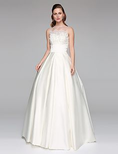 Princess Illusion Neckline Floor Length Lace Satin Wedding Dress with Beading Appliques by LAN TING BRIDE® #weddingdress #wedding #weddingideas