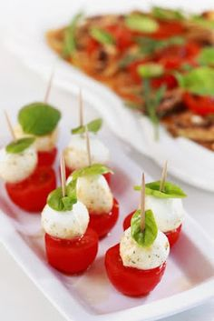 simple and super easy baby shower food ideas, dessert inspirations - mozzarella cheese with tomato and basil