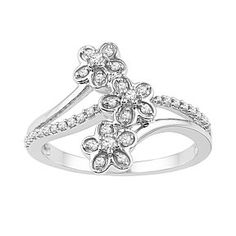 1/5Ct April Birthstone Diamond 3-Flower Fashion Ring In 10K White Gold # Free Stud Earrings by JewelryHub on Opensky