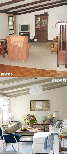 Salinha antes e depois http://www.countryliving.com/homes/renovation-and-remodeling/before-and-after-home-makeovers