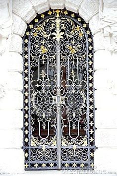 Wrought Iron door in Linderhof Palace in Germany, SW Bavaria near Ettal Abbey. It is the smallest of the 3 palaces built by King Ludwig II of Bavaria & the only one which he lived to see completed.