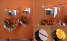 bricolage facile de décoration automnale: porte-bougies faits maison