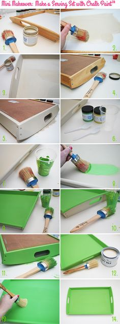 Mini Makeover: Make a Serving Set with Chalk Paint™ - Serving Tray on Style for a Happy Home // Click for DIY instructions
