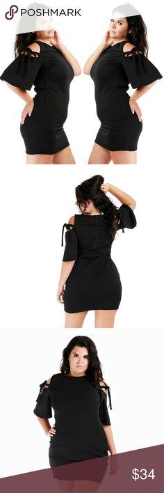 PLUS SIZE DRESS Plus blk open shoulder with bow ties dress Dresses
