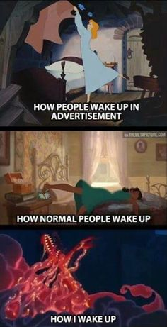 How Disney princesses wake up meme. Here are the best funny Disney memes that in. - Best of Memes Humour Disney, Disney Jokes, Funny Disney Memes, Funny Relatable Memes, Funny Jokes, Funniest Memes, Disney Princess Memes, Disney Fun Facts, Funny Disney Princesses