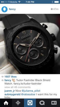 Tudor black shield watch