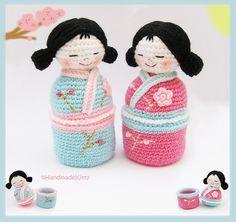 Japanese kokeshi girls jewelry box Amigurumi Crochet Pattern ♥ by HandmadeKitty by HandmadeKitty=^_^=, via Flickr