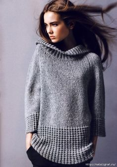 Ideas knitting pullover link for 2019 Winter Sweaters, Sweaters For Women, Sweater Coats, Grey Sweater, Handgestrickte Pullover, How To Purl Knit, Knit Fashion, Knit Or Crochet, Ravelry Crochet