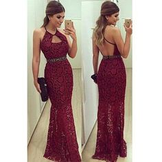 burgundy Prom Dress,long Prom Dress,lace Prom dress,backless prom Dres – Princesssbride