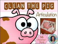 Clean the Pigs: hands-on articulation activity using dry-erase markers, tissues, or sponges for cleaning the pigs. Speech Therapy