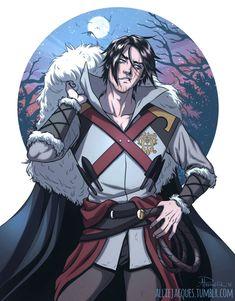 Fanart based on Castlevania Netflix Belmont Castlevania, Castlevania Dracula, Alucard Castlevania, Castlevania Netflix, Castlevania Lord Of Shadow, Character Concept, Character Art, Character Design, Anime Ai