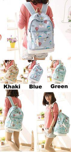 Cute Hot Air Balloon Printing Girl's Canvas Junior High Cartoon School Backpack for big sale! #Balloon #girl #canvas #school #backpack #bag