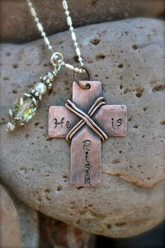 He Is Risen Metal Stamped Cross Necklace  Easter by ArtisticSoles, $20.00