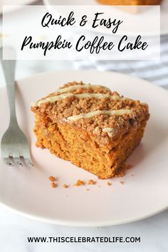 Easy and delicious pumpkin coffee cake! The perfect fall dessert recipe. If you love pumpkin dessert recipe, you are going to love this easy pumpkin coffee cake. Moist pumpkin cake, topped with delicious brown sugar streusel, and vanilla glaze. The BEST pumpkin recipe for fall! This is an easy recipe for a crowd, and a great fall brunch recipe too! A great halloween dessert or Thanksgiving dessert recipe! #coffeecake #falldesserts #pumpkinrecipes #pumpkindesserts