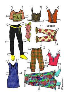 Karen`s Paper Dolls: Debbie 1-4 Paper Doll in Colours. Debbie 1-4 påklædningsdukke i farver.