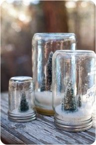 Canning jars into snow globes. I saw this done with baby food jars too!