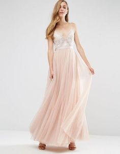 needle and thread tulle skirt asos, Needle & Thread Embroidery Motif Maxi Dress Blush/ecru Women Dresses, needle and thread aura chiffon and satin maxi dress Shop