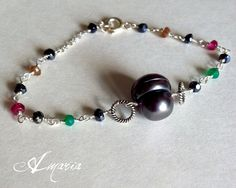 Pearl, pink tourmaline, green onyx, hematite, sterling silver necklace by Amaria #boebot #etsybot #handmadebot