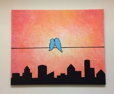 "City Love 24""x30"" acrylic silhouette painting, love birds perched on a wire"