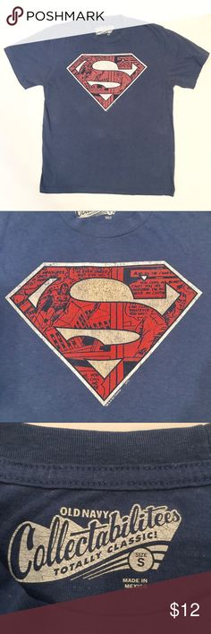 "Men's Blue Superman Graphic T-Shirt Blue Superman graphic t-shirt from Old Navy - the ""S"" has comic strip graphics inside it. Size small. Approximate measurements: 25"" long, 19"" across chest Shirts Tees - Short Sleeve"