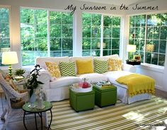 Welcome to my house! Click the pics and links to see posts about each room: How I Wash My White Slipcovers & More FAQs About My Sunroom Answered Decorating My S Four Seasons Room, Three Season Room, Sunroom Furniture, Outdoor Furniture Sets, Unique Furniture, Furniture Ideas, Outdoor Decor, Porches, Sunroom Decorating