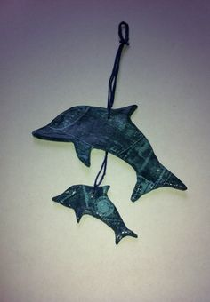 Two blue denim look hanging dolphin mobile #etsy, #MoggysMall, #dolphin, #denim, #decopatch