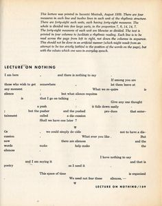 John Cage: Lecture on Nothing, 1959. Notation for a Lecture, first page.