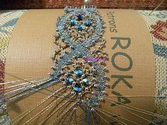 Bobbin Lace Bracelet with Svarowski crystal.( Pulsera de bolillos con aplicaciones de cristal de svarowski)