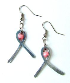 Pink Beaded Breast Cancer Ribbon Metal Hammered Earrings $12 with 3 dollars going to charity!