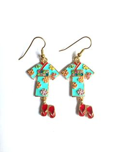Japanese Kimono and Slippers Enamel Charm by YogiYoAccessories