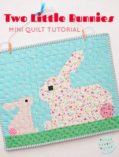 Small Easter Bunny Quilt – A Free Tutorial and Pattern Add-On - ellis & higgs Quilt Block Patterns, Pattern Blocks, Quilt Blocks, Pillow Patterns, Quilting Projects, Quilting Designs, Quilting Ideas, Farm Animal Quilt, Butterfly Quilt