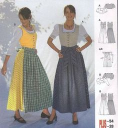 Burda 8448 German Dirndl Dress Skirt Top Apron Folkwear Costume Pattern 12-28 - eBay