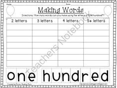100th Day Making Words Printable FREEBIE from Primary Reading Party on TeachersNotebook.com -  (3 pages)