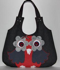 owl bag/ applique large hobo bag/shoulder bag//denim by leyyabags