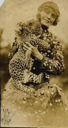 Vintage Photograph Circus Black and White Woman Leopard Cub photo mable-stark-holding-leopardpreview.jpg