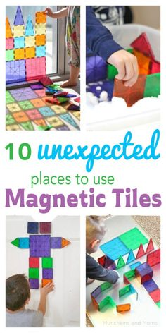 10 Unexpected Places to Use Magnetic Tiles. My kids love their Magna-Tiles! I never would have thought of a few of these ideas.